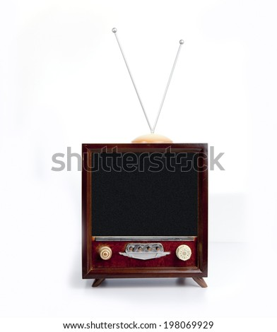 Old-fashioned television set isolated on white background