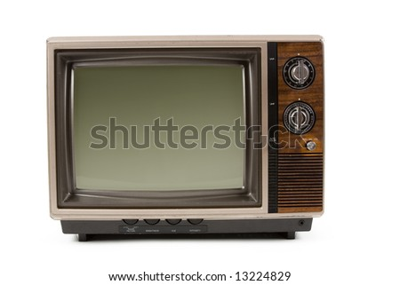 Old-fashioned Television with white background - stock photo