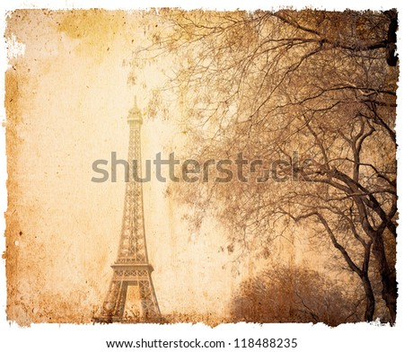 old-fashioned The Eiffel Tower (nickname La dame de fer, the iron lady),The tower has become the most prominent symbol of both Paris and France - stock photo