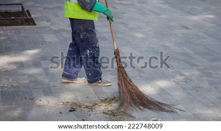 Old Fashioned Tree Branch Broom - stock photo