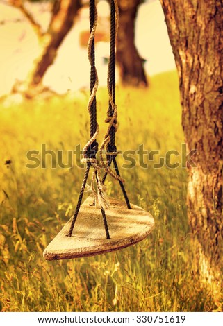 Old fashioned tree swing. Retro warm gold color palette. Concept for nostalgia, happy, childhood, memory - stock photo