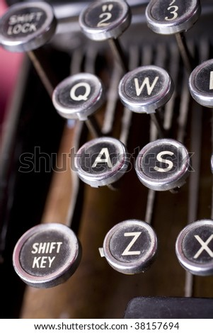 Old fashioned typewriter keys in a close up shot, highlighting the A button (or A to Z if you like). I also have a similar shot highlighting the 'Z button' and called just that. - stock photo