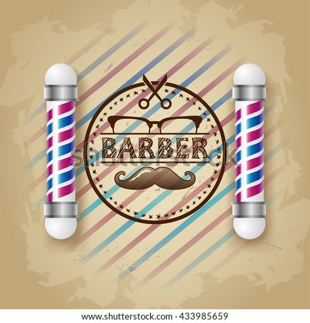 Old fashioned vintage barber shop silver pole. vintage design template. Face with Mustaches, sunglasses,eyeglasses-  illustration. Hipster hair and beards, fashion - stock photo