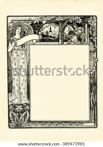 old-fashioned vintage illustration with an angel, church and bells