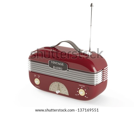 old fashioned vintage portable radio.?herry blossoms color - stock photo