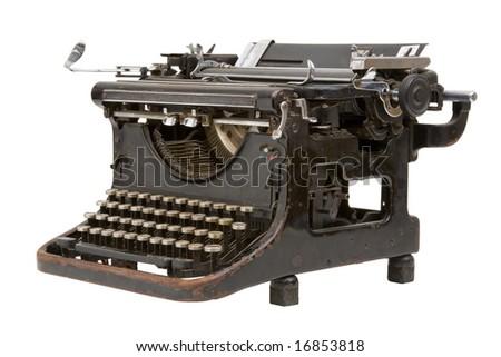 Old fashioned, vintage typewriter isolated on white background - stock photo