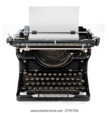 old fashioned, vintage typewriter isolated on white background with a blank sheet of paper inserted - stock photo
