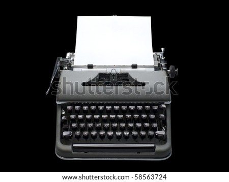 old fashioned, vintage typewriter with a blank sheet of paper inserted, isolated with clipping path - stock photo