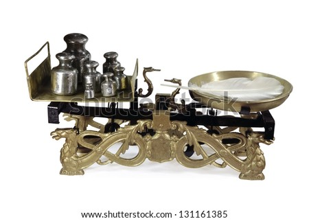 Old fashioned weighing scale - stock photo