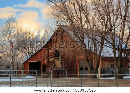 Old fashioned wooden barn in rural Utah, USA. - stock photo