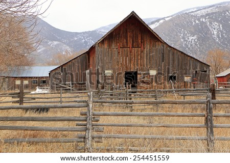 Old fashioned wooden barn, Utah, USA. - stock photo