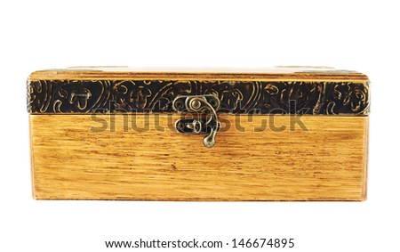 Old-fashioned wooden old casket isolated over white background, front view - stock photo