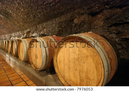 Old fashioned wooden wine barrels in a cave - stock photo