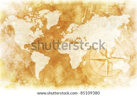 Old-Fashioned World Map Design: Rustic World Map with Compass Rose Illustration / Background.