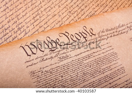 Old fashionet American Constitution on parchment paper - stock photo