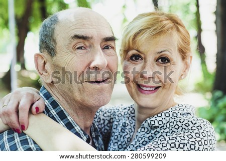 Old father and daughter  - stock photo