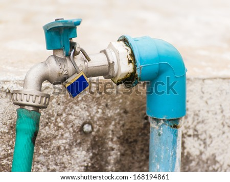Old faucet. Cause  The dirty - stock photo