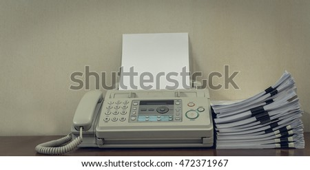 old fax machine on table stack stock photo edit now 472371967