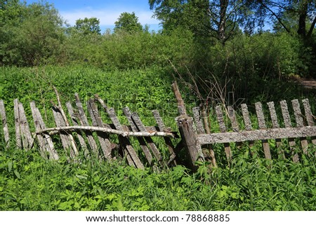 old fence in green herb - stock photo