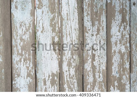 old fence . wooden plank. blue paint .
