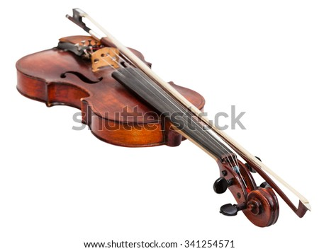 old fiddle with bow isolated on white background - stock photo