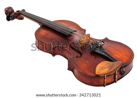 old fiddle with wooden chinrest isolated on white background - stock photo