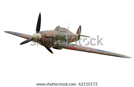 Old fighter propeller plane isolated on white with clipping path - stock photo