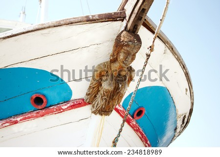 Old Figurehead on Sailing Ship. - stock photo
