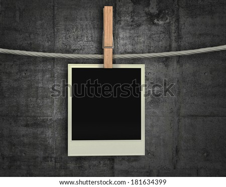 Old Film Blank Hanging on a Rope with clothing peg - stock photo