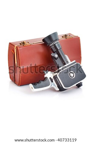 Old film camera with case. - stock photo
