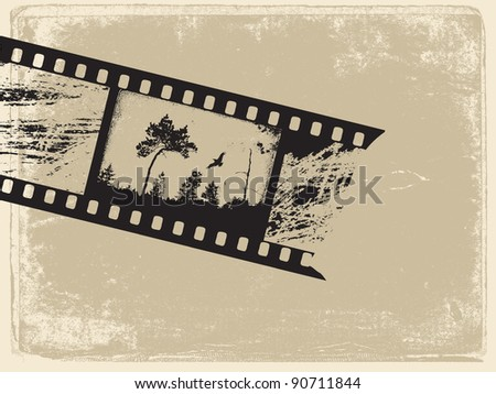 old film on old paper - stock photo
