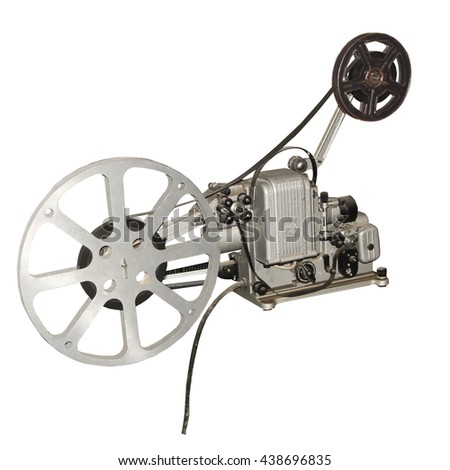 old film projector isolated on white background  - stock photo