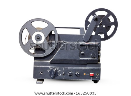 Old film projector old black isolated on white background. - stock photo