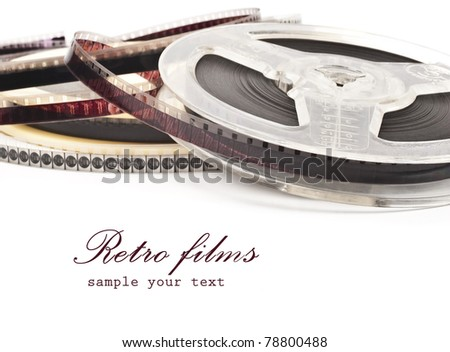 old Film Reel isolated on a white background - stock photo