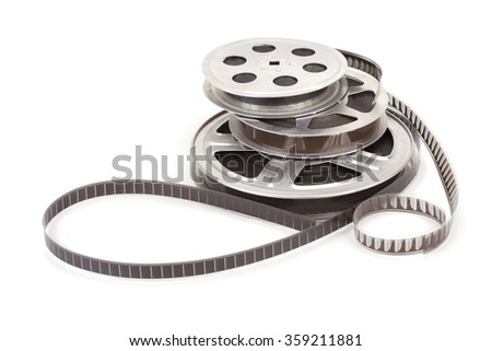 Old film reel with strip isolated on a white background - stock photo