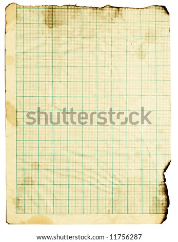 Old fine-textured grunge burnt squared paper with dark adust borders. Isolated on white with clipping paths - stock photo
