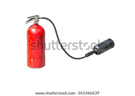 old fire extinguisher with head spray isolate on white background - stock photo