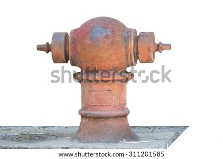 old fire hydrant / classic hydrant isolate on white background - stock photo