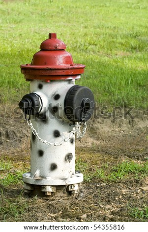 Old fire hydrant in the afternoon sunlight painted like a Dalmation dog with a red top - stock photo