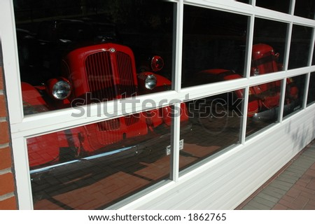 Old fire trucks parked - stock photo