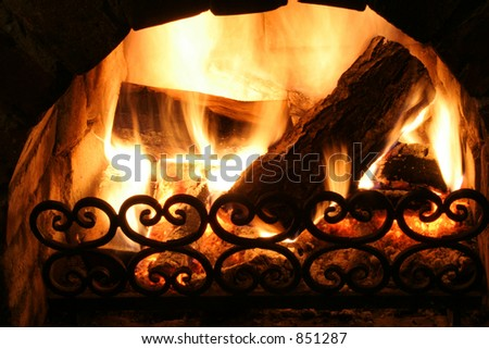 Old fireplace - stock photo