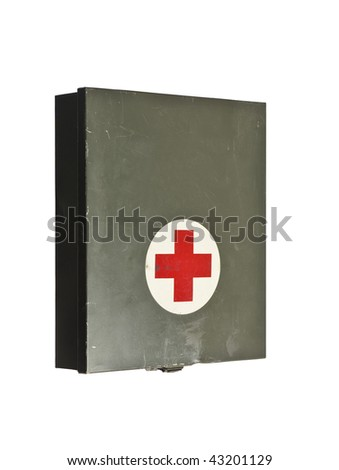 Old first aid kit isolated on a white background