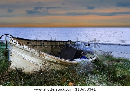 Old fishing boat, Latvia, Europe - stock photo