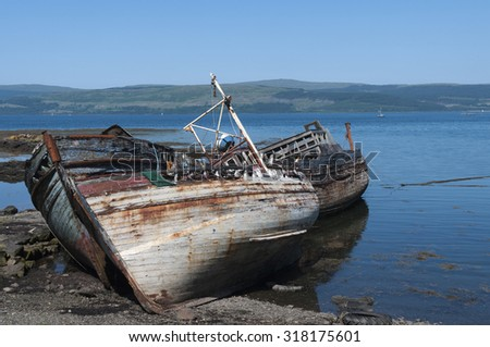 Old fishing boats laid up and gradually rotting away near Salen on Mull.