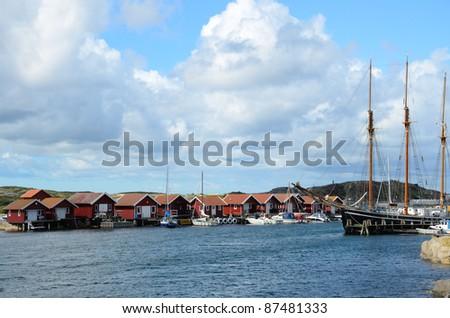 old fishing community on the Swedish west coast - stock photo