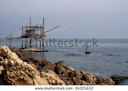 Old fishing machine called trabocco. Typical of Abruzzo, Italy
