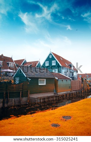old fishing village of Marken in the Netherlands. Close to Amsterdam. Gold autumn
