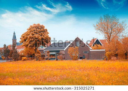 old fishing village of Marken in the Netherlands. Close to Amsterdam. Gold autumn - stock photo