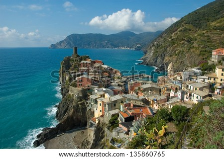 Old fishing village Vernazza in Cinque Terre region, Italy. Vernazza was recognized as World Heritage Site by UNESCO in 1997.