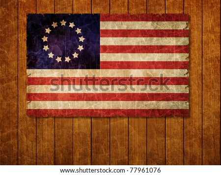 Old 1777 flag of USA on old wooden wall, USA flag for USA Independence Day, USA Betsy Ross flag - stock photo